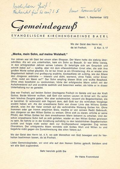 Het kerkblaadje Gemeindegruss van september 1972, met een artikel over Johannes Neomagus.