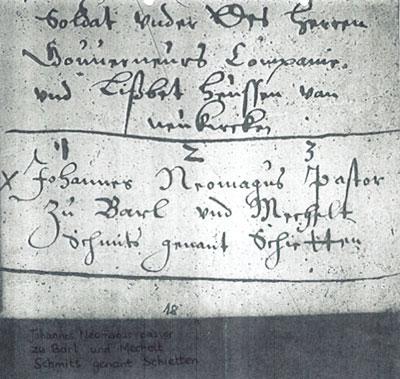 Huwelijksinschrijving van Johannes met Mechelt Schieten, 1629.