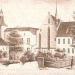 Meurs rond 1850. Rechts het gymnasium.