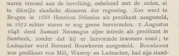 Bericht over de intrede van Samuel in Sambeek waar hij geen hervormde inwoners aantreft.