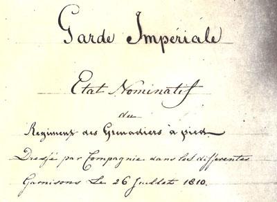 Omslag van een stuk over de Keizerlijke Garde uit 1810.