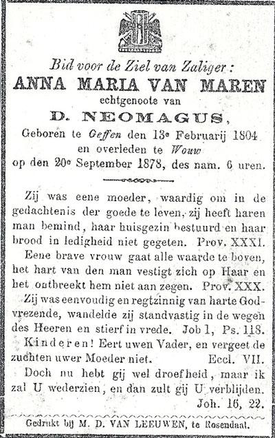 Bidprentje van Anna Neomagus - van Maren.