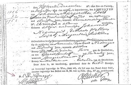 Samuel geeft op 15 december 1826 het overlijden aan van zijn moeder. Linksonder zijn handtekening.