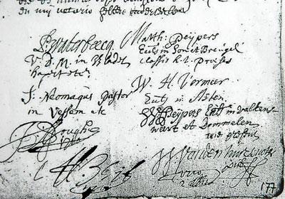 Ondertekening door Samuel Neomagus (links in het midden).