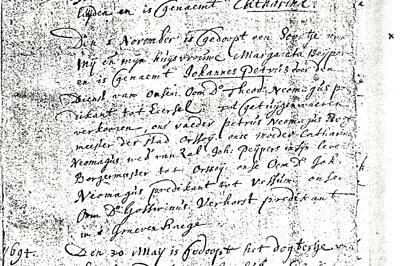 Doopinschrijving van Johannes Petrus, 1693