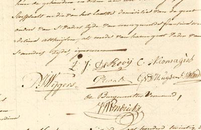 Huwelijksinschrijving met de handtekeningen van man (De Rooij) en vrouw (Neomagus).