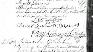 Handtekening van Benjamin Neomagus als klerk in Stiphout. Ook de handtekening van Daniël Zwaans (schepen) staat er op. Daniel is getrouwd met Dilia de Jongh, moeder van Benjamins broer Godfried.