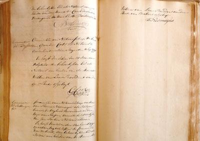 Inschrijving van Thomas als notaris; het is de laatste inschrijving onder de Raad van Brabant.