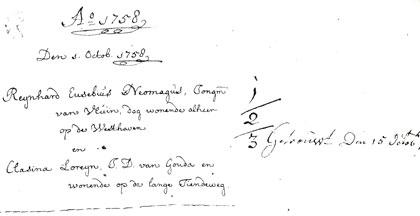 Inschrijving van het (eerste) huwelijk van Reynhard Neomagus, 1758.