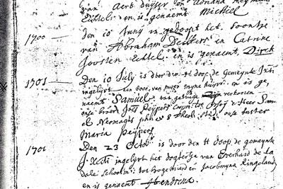 Doopinschrijving van Samuel op 10 juni 1701.