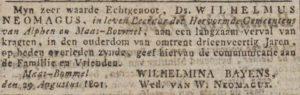 Overlijdensadvertentie van dominee Willem Neomagus, 1801.