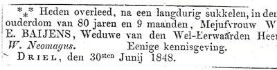 Overlijdensadvertentie van de weduwe van dominee Willem Neomagus, 1848.