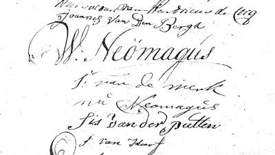 Handtekening van Willem in 1792.