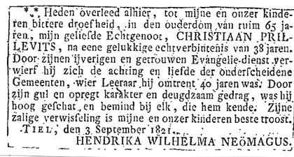 Overlijdensadvertentie van dominee Christiaan Prillevits, 1821. Zijn weduwe schrijft Neömagus, met ö.