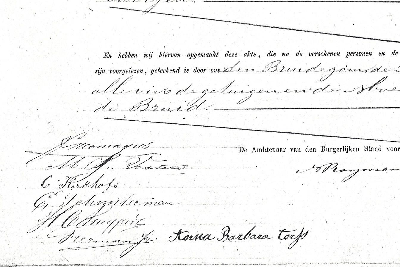 De handtekeningen onder de huwelijksakte van Frits en Julia.