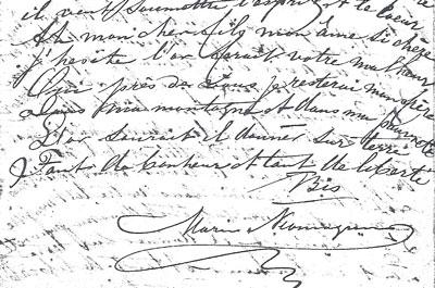 Gedicht van Marie (in 't Frans) met haar handtekening.