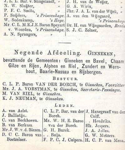 Vermelding van Dirk van Boetzelaer in de almanak.