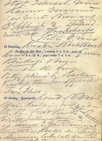 Aantekeningen van Dirk van Boetzelaer in zijn agenda. Bovenaan is te lezen 'visit Neomagus en ds Abbing', onderaan staat nog een keer de naam Neomagus.