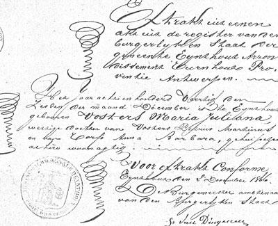 Fraaie krullen op het extract van de geboorteakte van Julia. Het uittreksel is afgegeven op 2 december 1866, terwijl het huwelijk pas op 2 mei 1867 is gesloten.