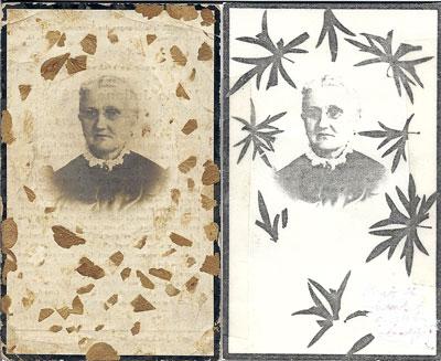 Met blaadjes versierde bidprentjes met foto van Julia.
