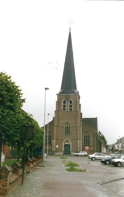 De kerk van Eindhout, waar Julia Vosters is gedoopt. Van 1840 tot 1864 is dit de parochiekerk van de familie Vosters.