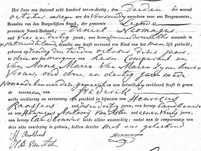 In de geboorteakte van Frederik staat dan vader Daniel 34 jaar is, terwijl hij 39 is.