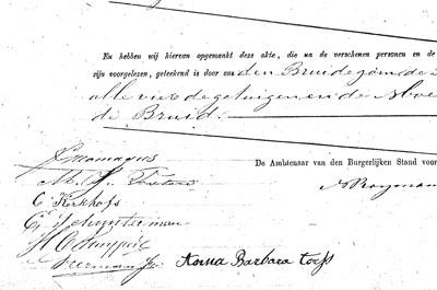 Handtekeningen onder de huwelijksakte van Frits en Julia.