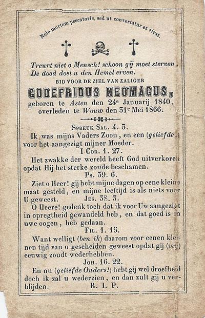 Bidprentje van Godefridus Neomagus uit 1866.