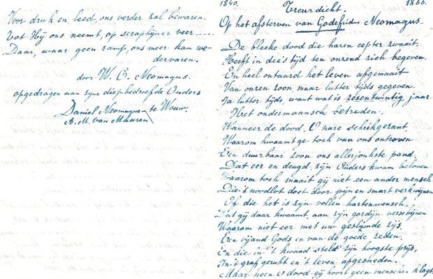 Begin en eind van het treurdicht dat Willem Neomagus in 1866 schrijft na het overlijden van zijn broer Godedridus.
