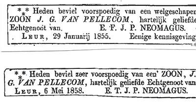 Geboorte-advertenties van de kinderen, van wie de namen ontbreken (in die tijd vaker het geval).