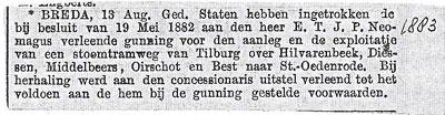 Bericht van het intrekken van de concessie voor een tramlijn van Tilburg naar St.-Oedenrode, 1883.