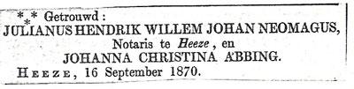 Huwelijksadvertentie van Juul en Jo in 1870.