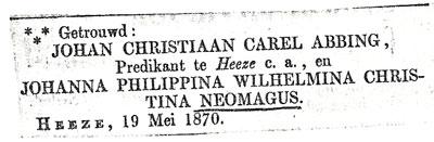Huwelijksadvertentie van Johan Abbing en Jo Neomagus, 1870.