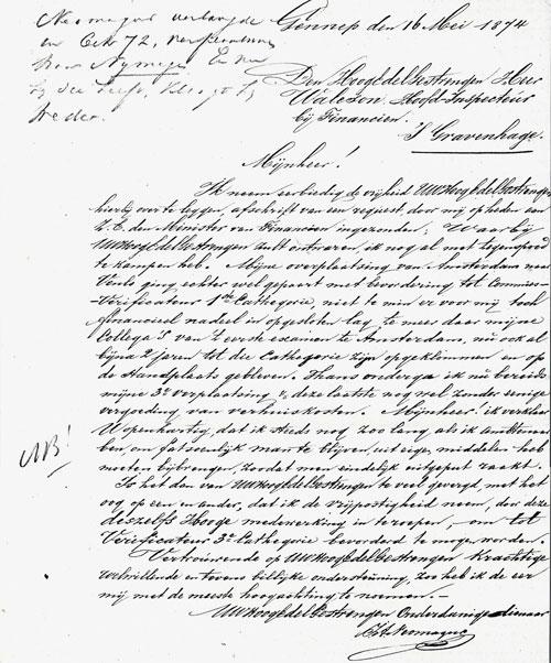 Brief van Jan Neomagus uit 1874 met een verzoek om bevorderd te worden.