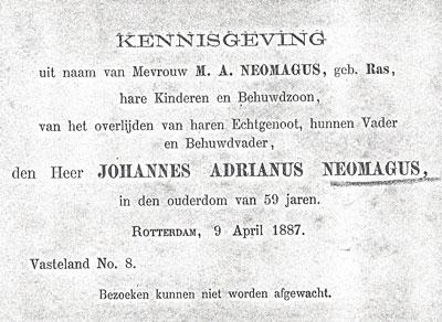 De rouwbrief van Jan Neomagus, 1887.