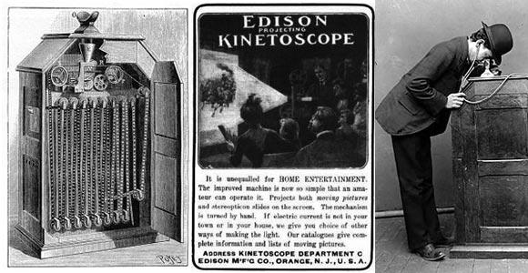 Advertentie voor de kinetoscoop.