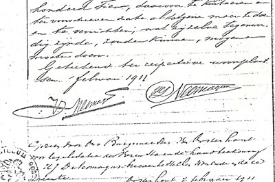 De fraaie handtekeningen van Victor (links) en zijn broer Poliet onder een volmacht uit 1911, behorend bij het testament van hun op 23 december 1910 overleden vader Frits. Poliet heeft de voorletters verweven tot een soort logo, in de (verkeerde) volgorde H.J.D., die hij altijd gebruikt.