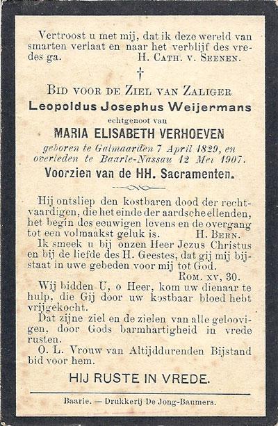 Bidprentje van Leopold Weijermans, 1907