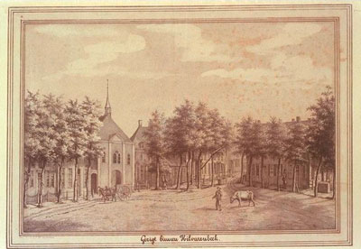 Het Vrijthof van Hilvarenbeek met de hervormde kerk.