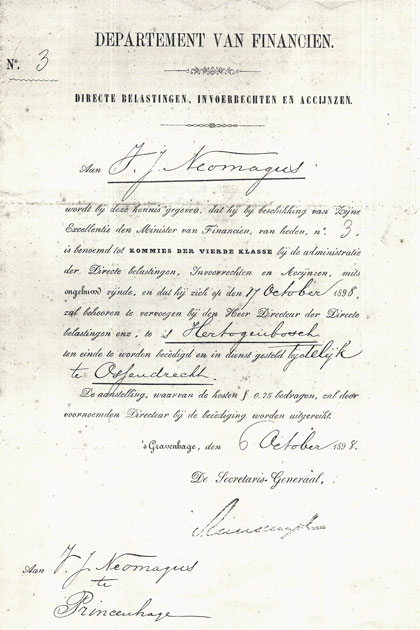 .Victor Neomagus begint zijn ambtelijke loopbaan in oktober 1898 in Ossendrecht. Hij is dan al van juni 1888 tot juni 1896 in militaire dienst geweest