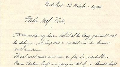 Aanhef van een brief van Victor aan zijn (heer)neef Frits vanuit Oude God, een buurt in Antwerpen, gedateerd 26 oktober 1936. Victor vertelt in de brief uitgebreid over de familie. Frits is namelijk bezig met de familiegeschiedenis.