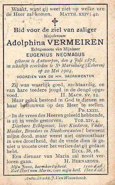 Tekst op het bidprentje van Adolphina Vermeiren, 1904