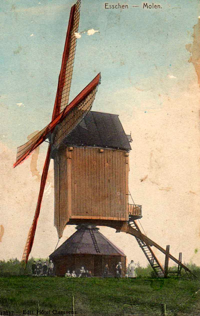 De molen van de familie Denissen in Essen, 1907.