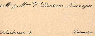 Naamkaartje van Mr & Mme V. Denissen-Neomagus.