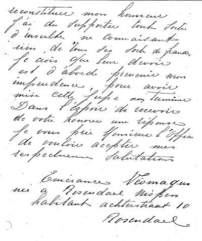 Brief van Emerence aan de officier van justitie. Ze schrijft haar naam als Néomagus.