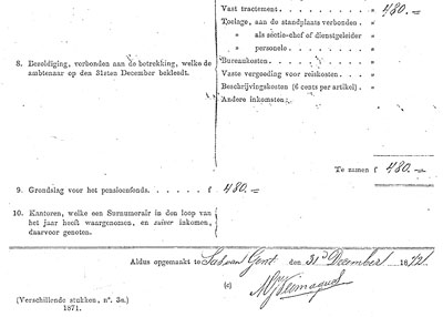 Handtekening van Marinus onder zijn signalementsstaat van 1872.