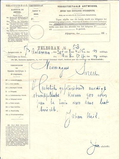 Gelukstelegram van broer Johan en zijn vrouw aan Bertus in verband met zijn benoeming in Wormerveer.