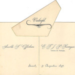 Bertus Neomagus en Arnolda (Daatje) Offerhaus verloven zich op 31 augustus 1897. Het kaartje 'Verloofd' is los bijgesloten.