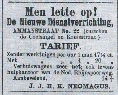 Karel Neomagus adverteert met zijn zaak De Nieuwe Dienstverrichting.
