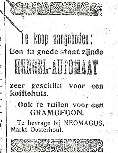 Opmerkelijke advertentie uit 1913.